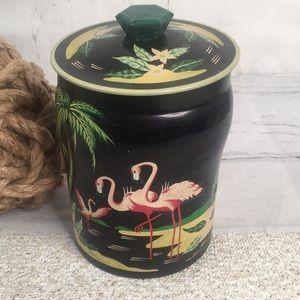 Vintage Flamingo Mid Century Modern Storage Tin